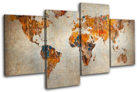 Grunge World Atlas Maps Flags - 13-0539(00B)-MP04-LO